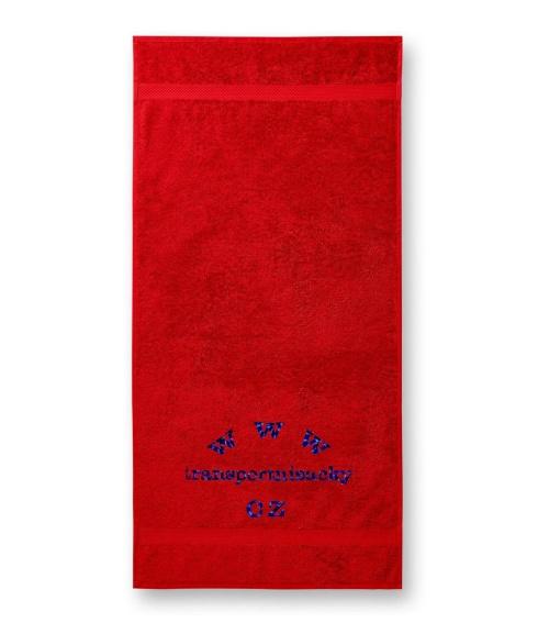 Froté ručník červený s výšivkou 50x100cm