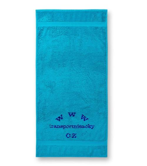 Froté ručník tyrkysový s výšivkou 50x100cm