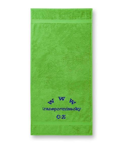 Froté ručník zelený s výšivkou 50x100cm